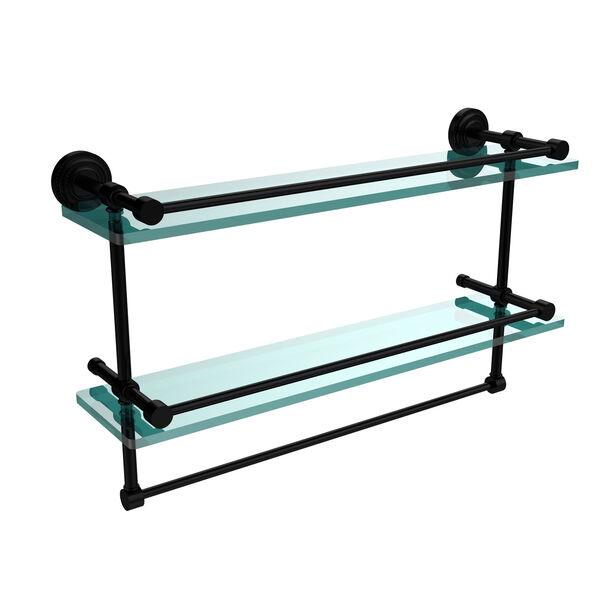 Dottingham 22 Inch Gallery Double Glass Shelf with Towel Bar, Matte Black, image 1