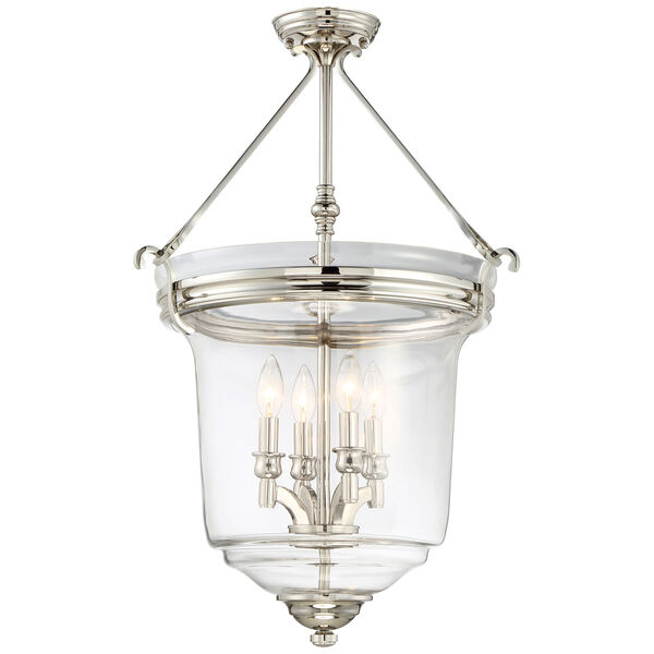Audreys Point Polished Nickel Four-Light Bell Pendant, image 2