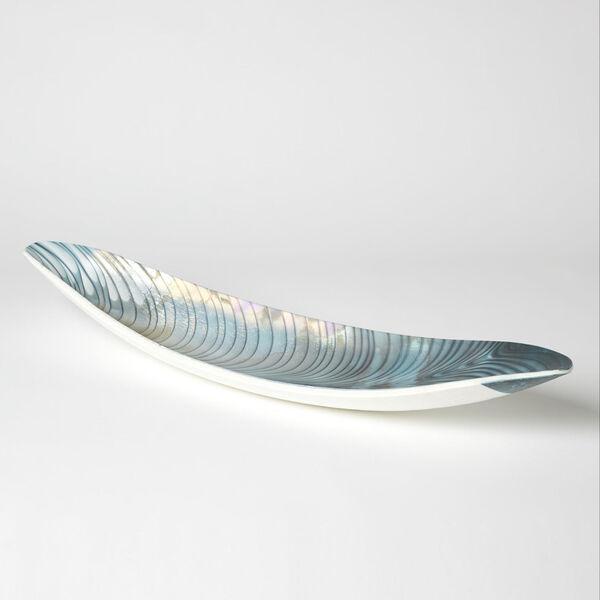 Ivory and Turquoise Six-Inch Feather Swirl Gondola Bowl, image 2