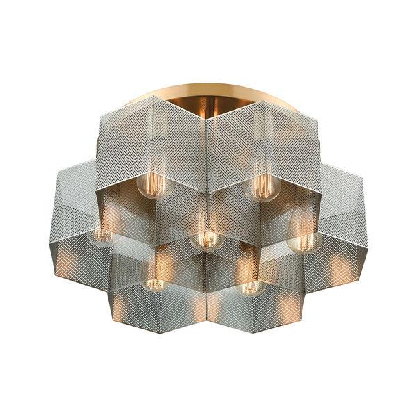 Compartir Satin Brass and Polished Nickel Seven-Light Semi Flush Mount, image 2