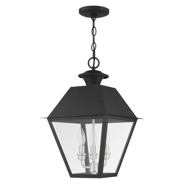 Mansfield Black Three-Light Outdoor Pendant Lantern, image 2