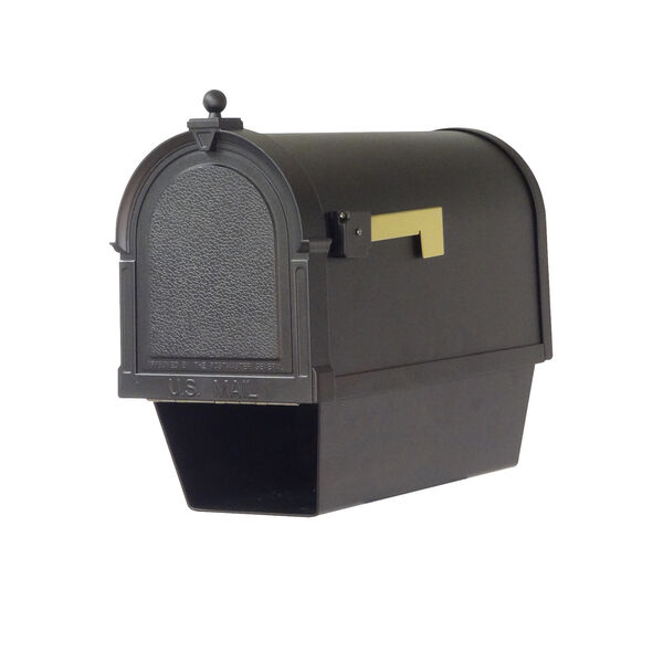 Curbside Black Berkshire Mailbox with Newspaper Tube and Floral Front Single Mounting Bracket, image 5
