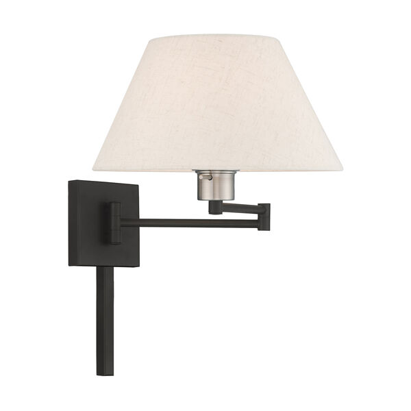Swing Arm Wall Lamps Black 13-Inch One-Light Swing Arm Wall Lamp with Hand Crafted Oatmeal Hardback Shade, image 4