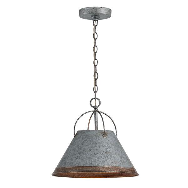 Alvin Antique Galvanized Metal Cone One-Light Pendant, image 5