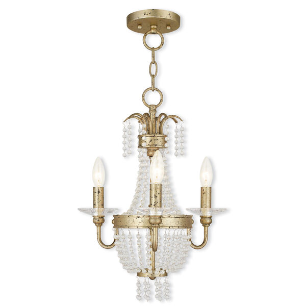 Valentina Hand Applied Winter Gold 15-Inch Three-Light Convertible Chandelier, image 1