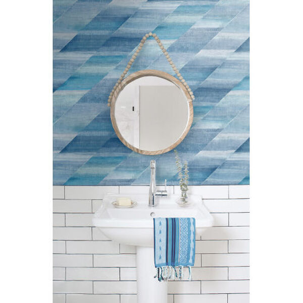 Boho Rhapsody Washed Denim and Cerulean Rainbow Diagonals Unpasted Wallpaper, image 1