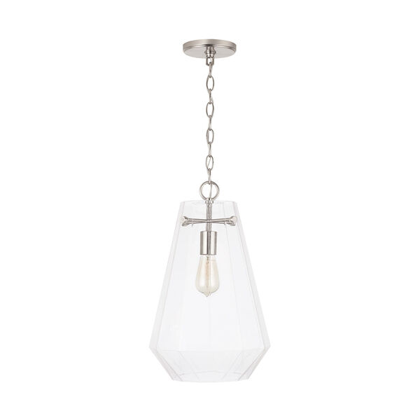 One-Light Pendant with Clear Prismatic Glass, image 1