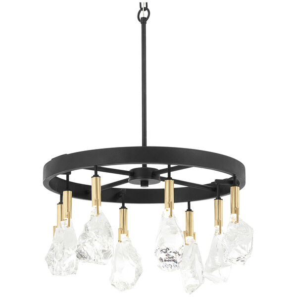 Rare Elements Sand Coal and Vintage Brass Eight-Light LED Chandelier, image 1