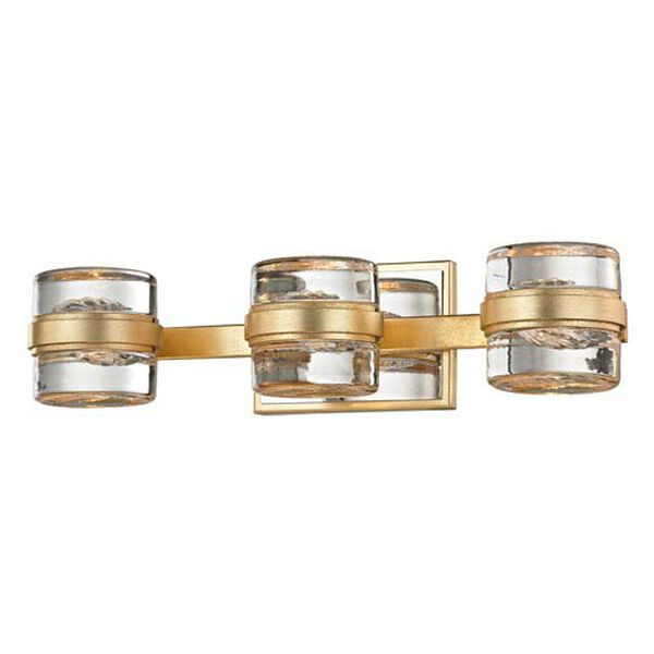 Colette Gold Leaf and Polished Chrome Three-Light LED Bath Vanity, image 1