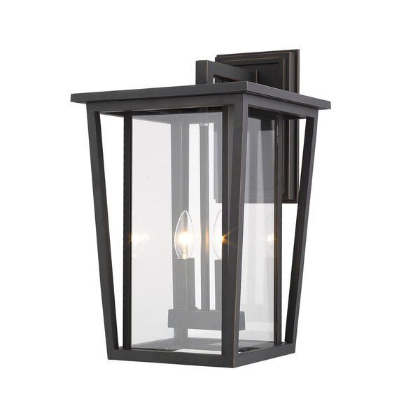 Seoul Oil Rubbed Bronze Two-Light Outdoor Wall Sconce With Transparent Glass, image 1