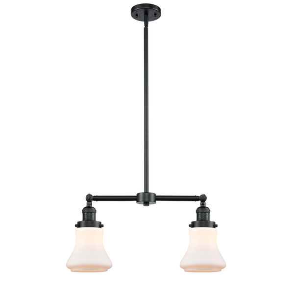 Franklin Restoration Oil Rubbed Bronze 21-Inch Two-Light LED Chandelier with Matte White Bellmont Shade, image 1