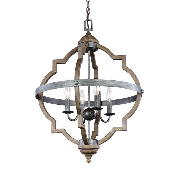 Kenwood Black and Wood 21-Inch Four-Light Chandelier, image 1