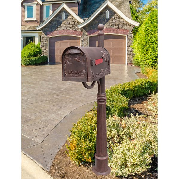 Hummingbird Copper Curbside Mailbox with Ashland Mailbox Post Unit, image 2