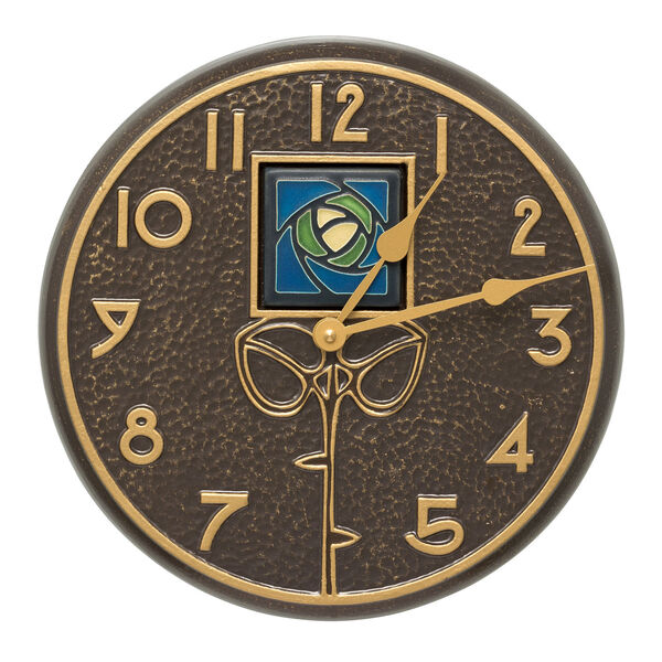 Blue Dard Hunter Rose French Bronze Indoor Outdoor Wall Clock, image 1