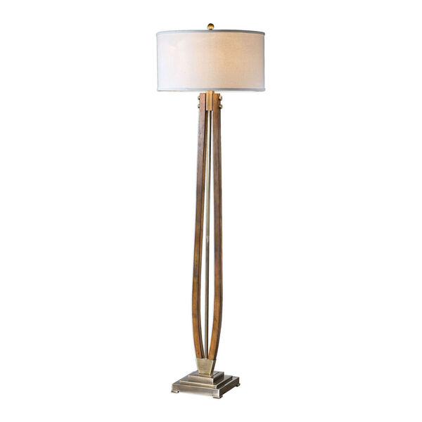 Golden Burnished Wood Floor Lamp, image 1