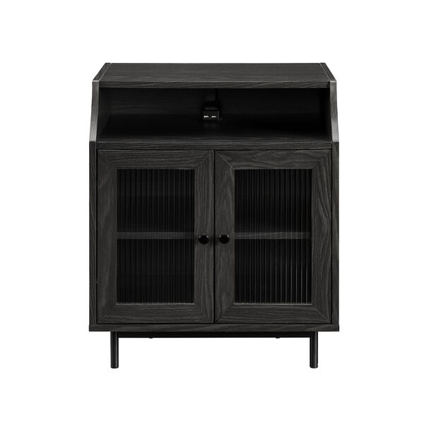 Graphite Fluted Glass Two Door Nightstand with USB, image 5