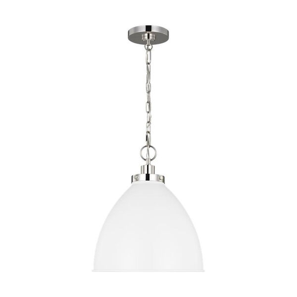 Wellfleet Matte White and Silver 16-Inch One-Light Pendant, image 2