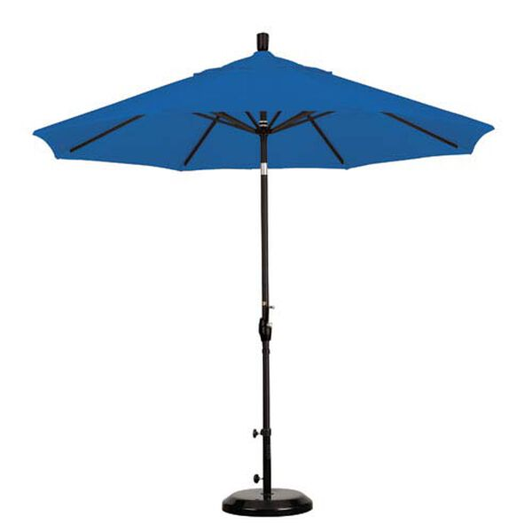 9 Foot Umbrella Aluminum Market Push Tilt - Matte Black/Sunbrella/Pacific Blue, image 1