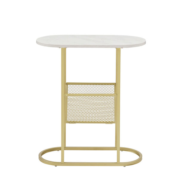 Margo White and Gold Side Table with Magazine Rack, image 6