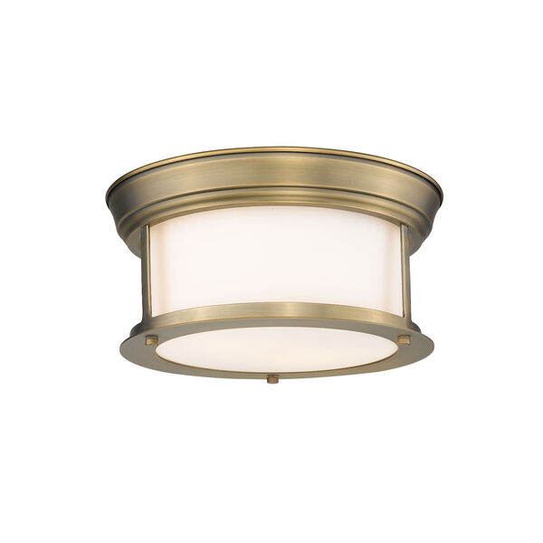 Sonna Heritage Brass Two-Light Flush Mount with Matte Opal Glass, image 1
