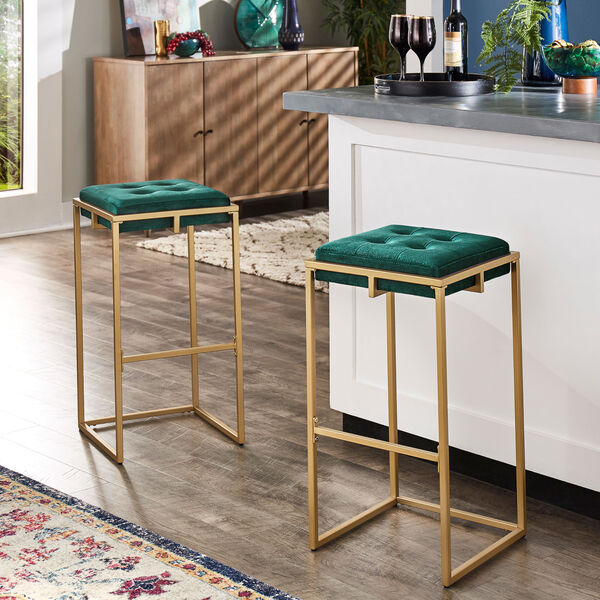 Minnie Gold and Green Velvet Button Tufted Bar Stool, Set of Two, image 6