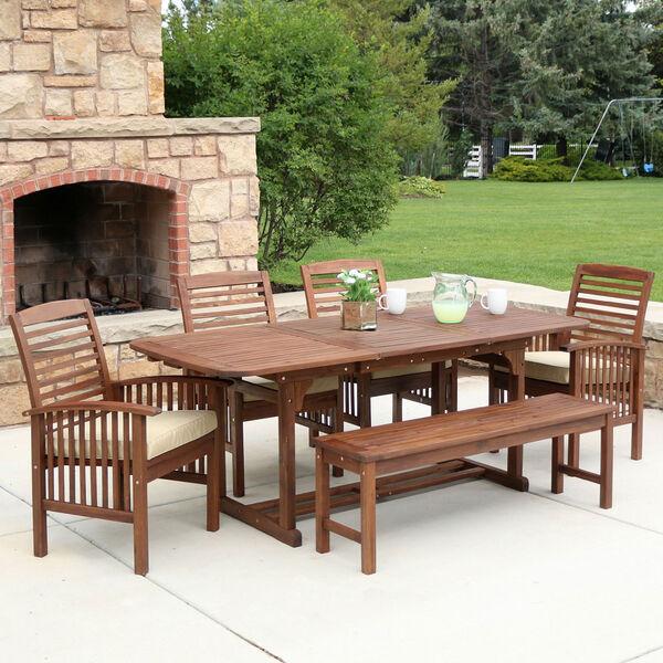 6-Piece Dark Brown Acacia Patio Dining Set with Cushions, image 1
