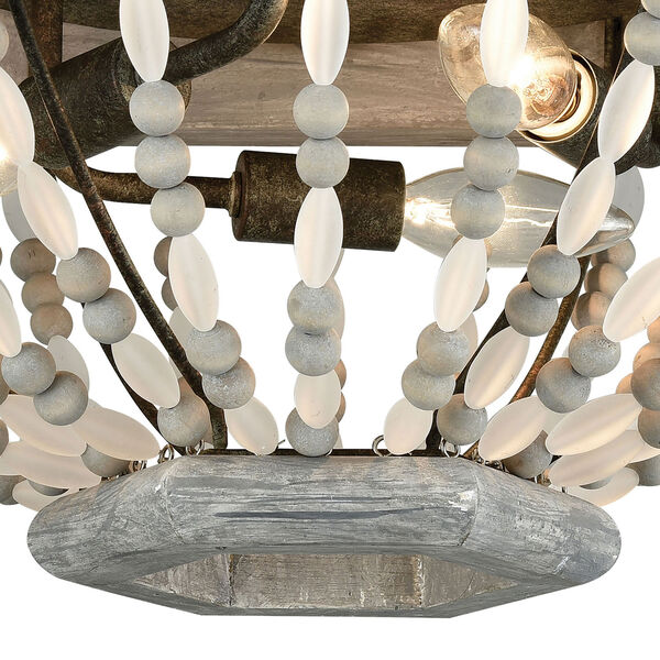 Summerton Washed Gray and Malted Rust Three-Light Flush Mount, image 3