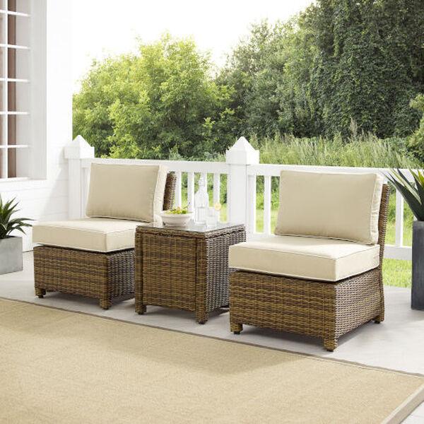 Bradenton Sand Weathered Brown Three-Piece Outdoor Wicker Chair Set, image 1