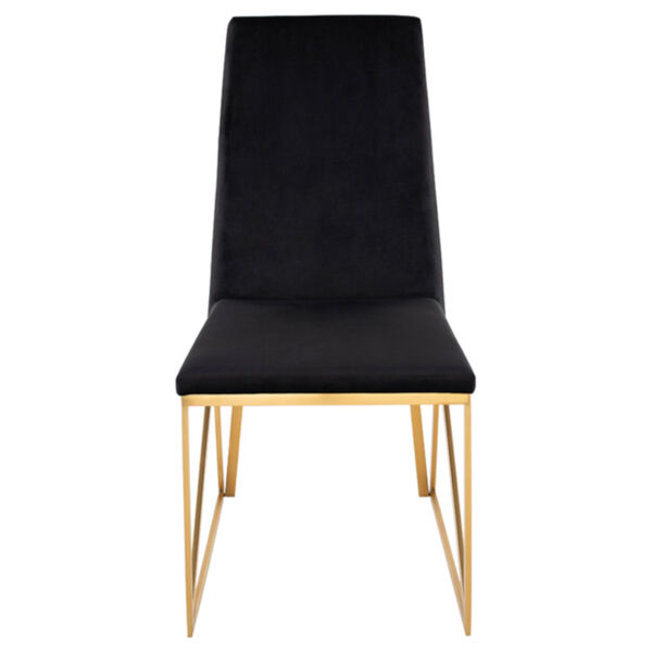 Caprice Black Velour and Brushed Gold Dining Chair, image 2