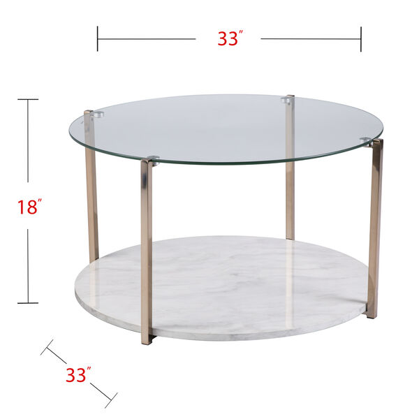 Avenida Gold with Gray Veined White Faux Marble Coffee Table, image 6