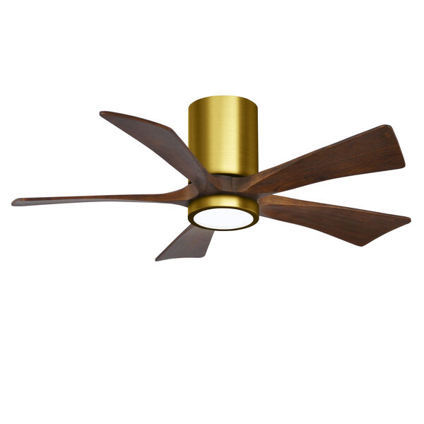 Irene-5HLK Brushed Brass and Walnut 42-Inch Ceiling Fan with LED Light Kit, image 1