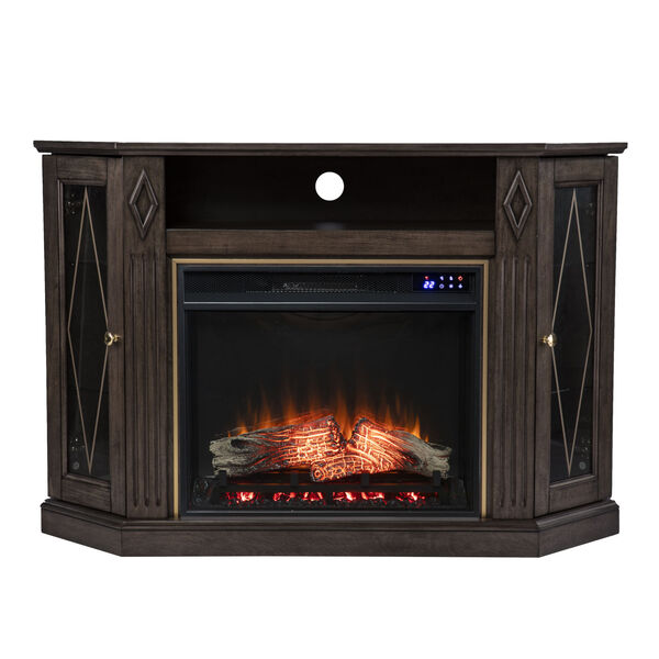 Austindale Light Brown Corner Electric Fireplace with Media Storage, image 2