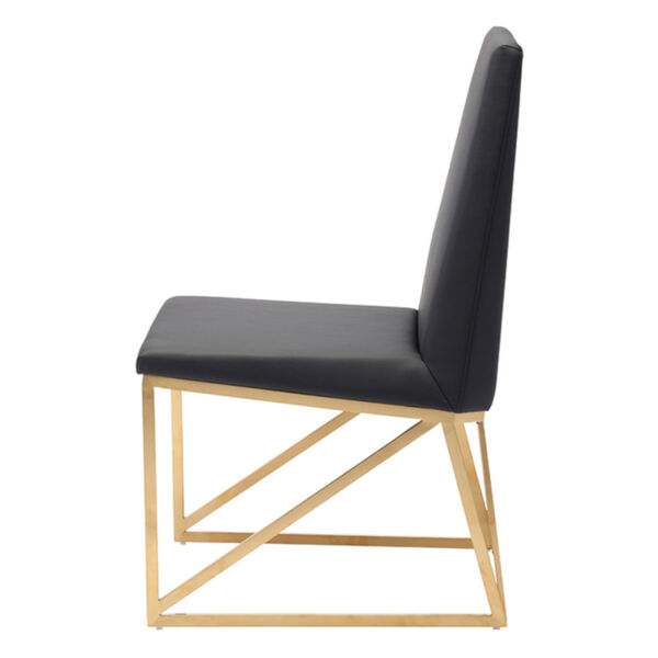 Caprice Black and Brushed Gold Dining Chair, image 3