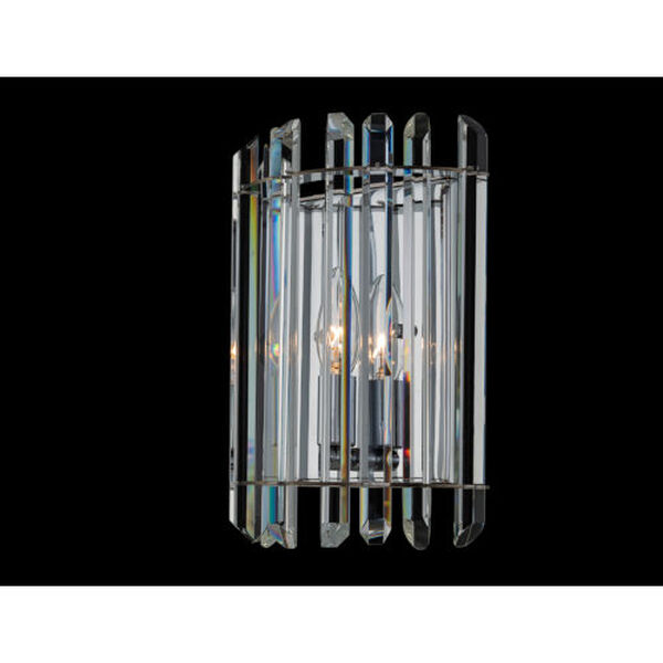Viano Polished Chrome One-Light Wall Sconce with Firenze Crystal, image 2