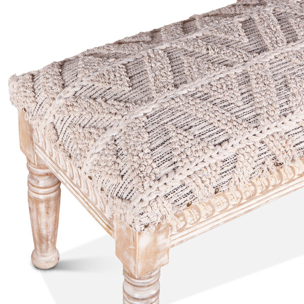 Algiers Off White and Whitewash Accent Bench, image 3