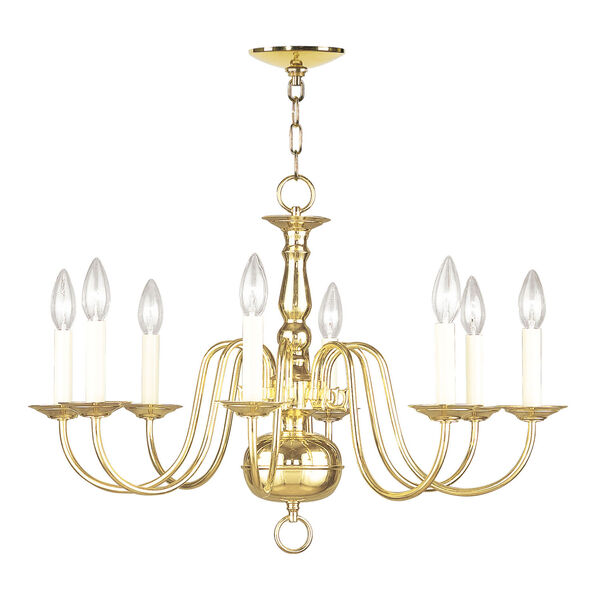 Williamsburgh Eight-Light Polished Brass Chandelier, image 2