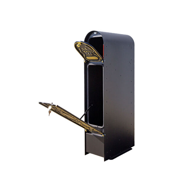 MailKeeper 150 Black and Gold 49-Inch Locking Column Mount Mailbox with Decorative Classic Design Front, image 3