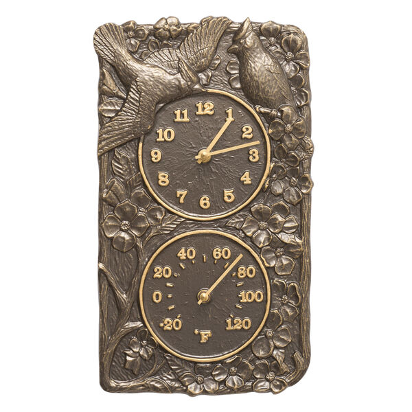 Cardinal French Bronze Indoor Outdoor Wall Clock and Thermometer, image 1