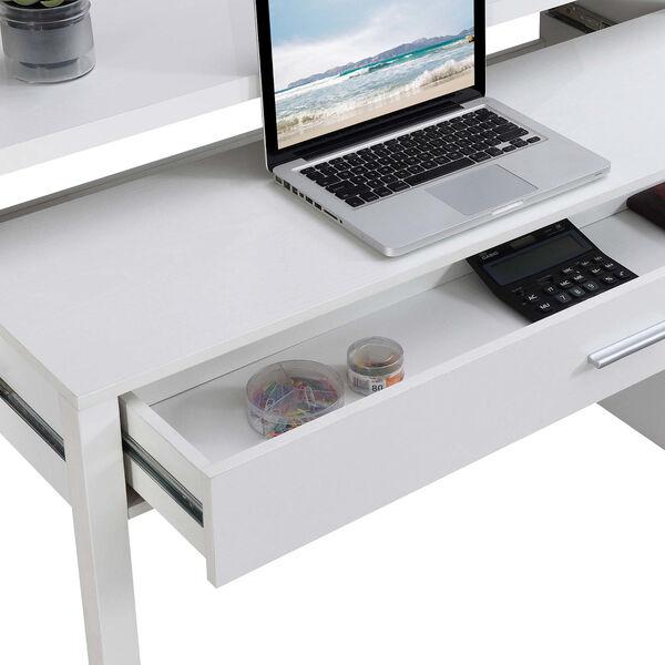 Newport JB White Sliding Desk with Drawer and Riser, image 4