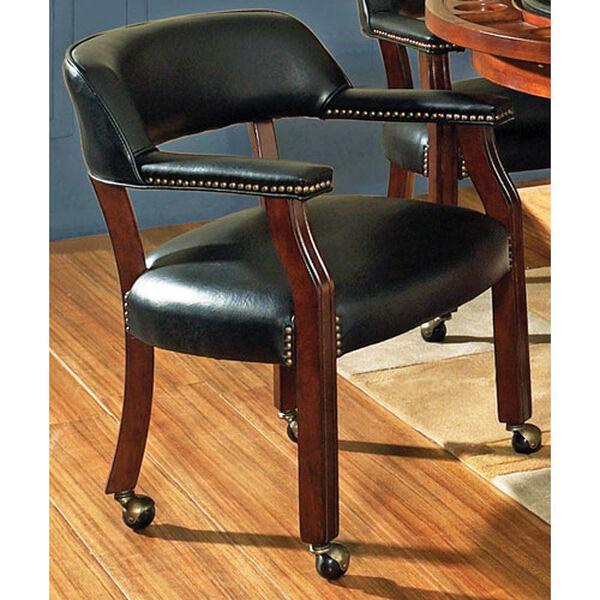 Tournament Black Arm Chair w/Casters, image 1