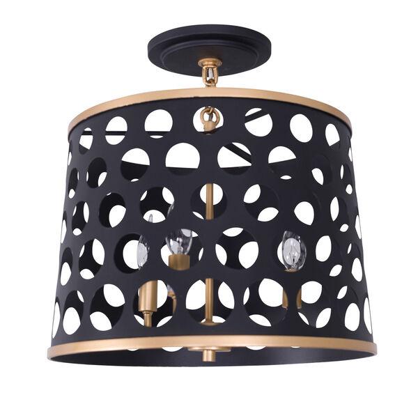 Bailey Matte Black French Gold 16-Inch Three-Light Semi Flush, image 2