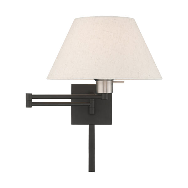 Swing Arm Wall Lamps Black 13-Inch One-Light Swing Arm Wall Lamp with Hand Crafted Oatmeal Hardback Shade, image 3
