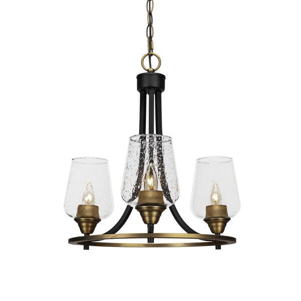 Paramount Matte Black and Brass 16-Inch Three-Light Chandelier, image 1