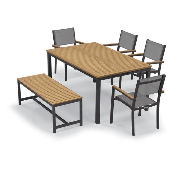 Travira Natural Tekwood Top and Carbon Powder Coated Aluminum Frame 63-Inch Rectangular Dining Table, image 3
