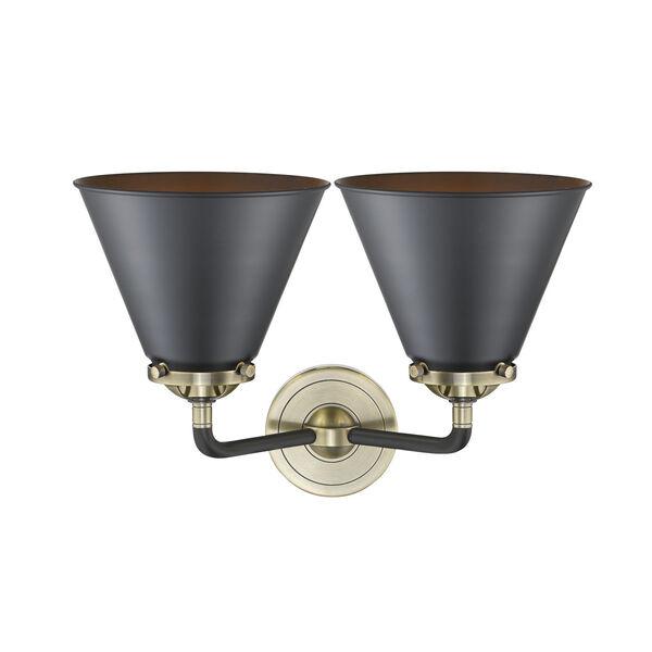 Nouveau Black Antique Brass Two-Light Bath Vanity, image 2