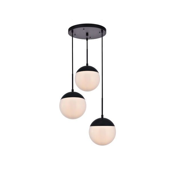 Eclipse Black and Frosted White 18-Inch Three-Light Pendant, image 3