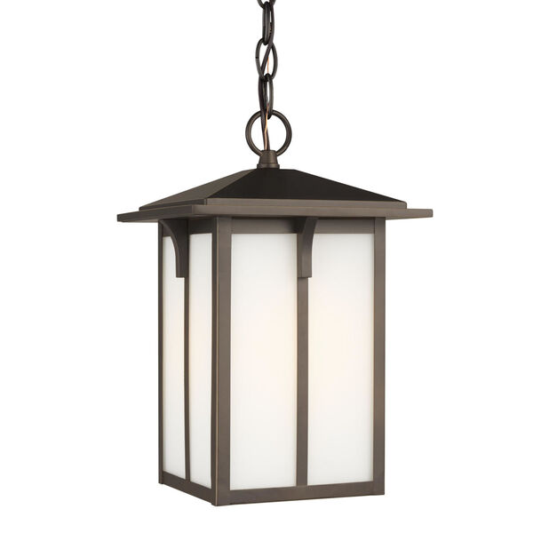 Tomek Antique Bronze One-Light Outdoor Pendant with Etched White Shade Energy Star, image 2