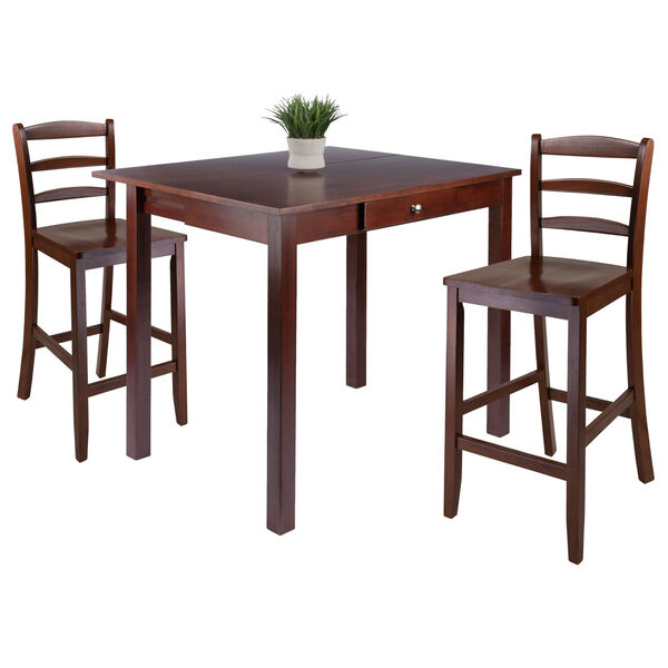 Perrone Walnut Three-Piece Dining Table Set, image 2
