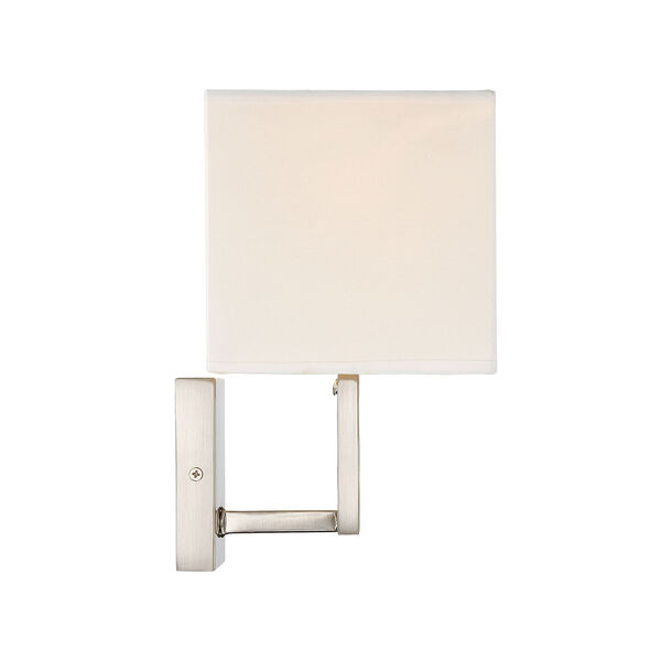 Uptown Brushed Nickel One-Light Wall Sconce with Square White Fabric Shade, image 3