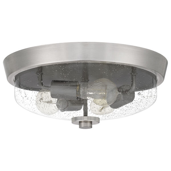 Radius Brushed Nickel 15-Inch Three-Light Flush Mount with Clear Seeded Glass, image 2